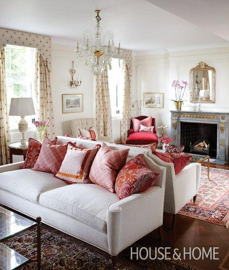 Sarah Richardson living room with classic decor and traditional style. Red accents. 12 Brilliant Interior Design Ideas from Sarah Richardson. #livingroom #traditional #classic #sarahrichardson