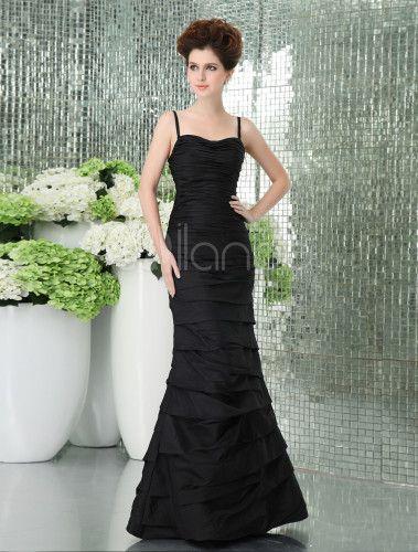 Slim Black Taffeta Floor Length Mermaid Trumpet Prom Dress - Milanoo.com