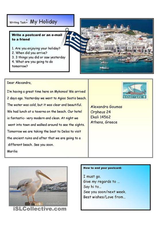 Creative Writing A Holiday Postcard 2 A2 Level Holiday Writing Holiday Postcards Creative Writing