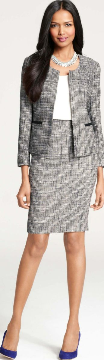 Chic Professional Woman Work Outfit. Etienne Tweed Jacket  Skirt: