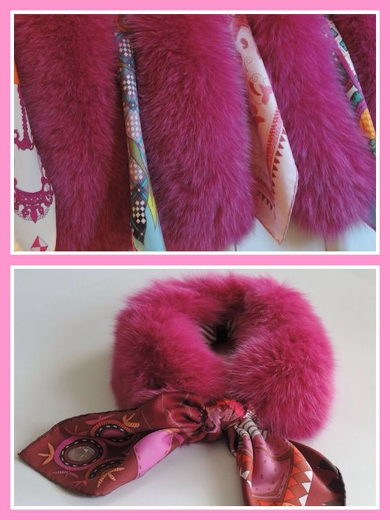 MaiTai SAGA fox fur collar in Fuchsia: