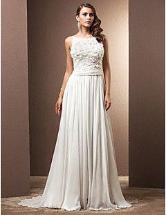 Lanting uma linha petite / mais tamanhos do vestido de casamento - marfim varrer…