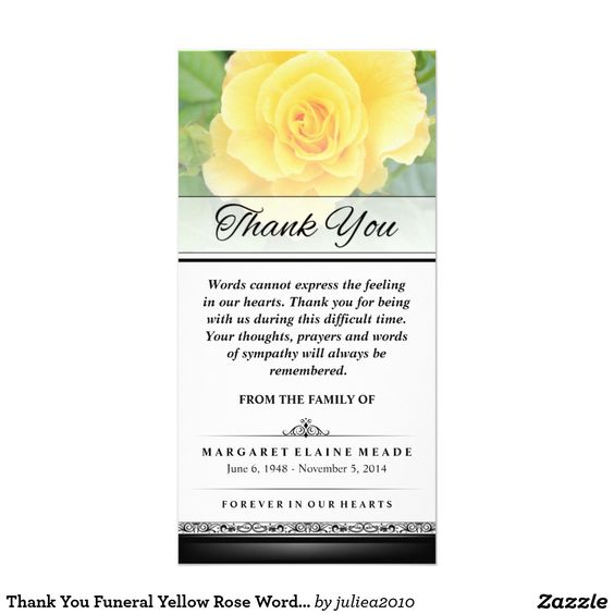 Thank You Funeral Yellow Rose Words Cannot Express Photo Card – Funeral Words for Cards