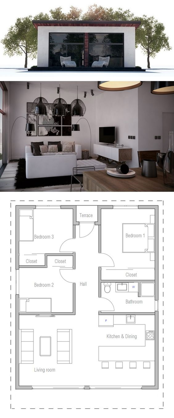 Plano de una peque a casa de uma planta casas for Planos para cocinas pequenas