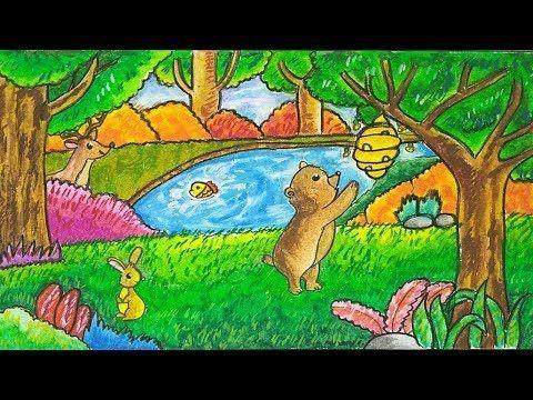 Cara Menggambar Pemandangan Hutan Dengan Oil Pastel Youtube Cara Menggambar Gambar Hutan Warna