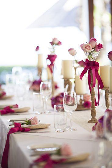 Hot Pink Bouquet adoring Bridal Table c by Tirtha Bridal Uluwatu Bali