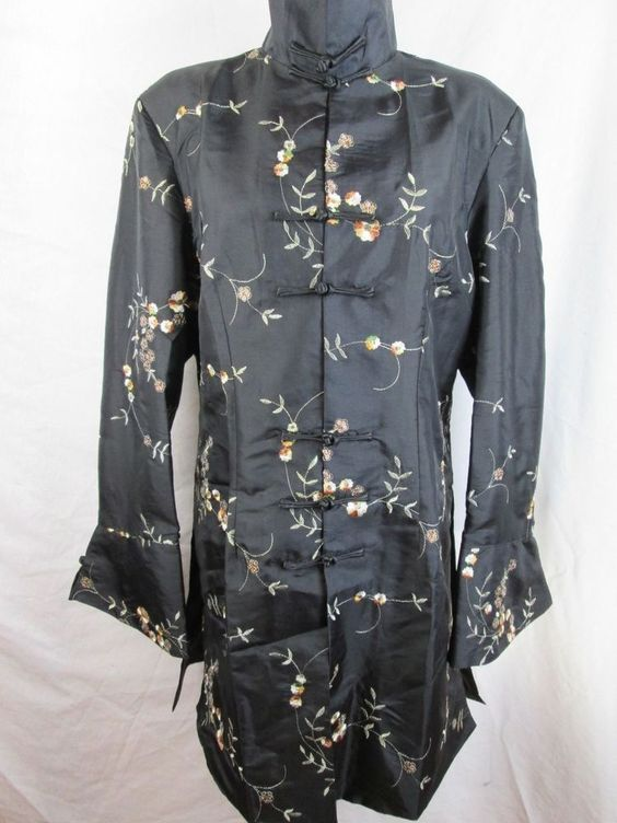 Black Silk Jacket Floral Sequins Asian Inspired Knee Length Coat XL #ChezPatricia #BasicJacket