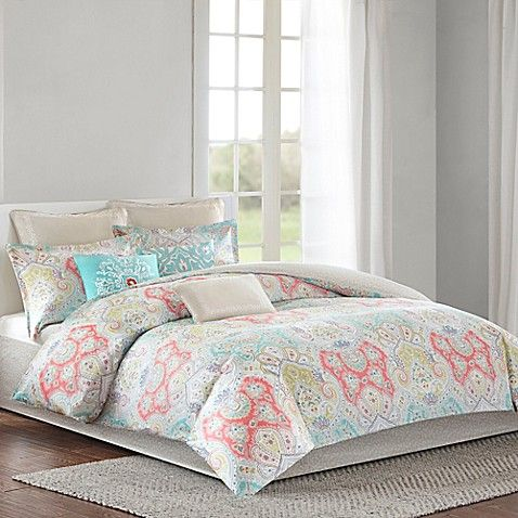 The Echo Cyprus Duvet Cover Set Will Add Bursts Of Color To Your Bedroom Featuring Beautiful Paisley Print In Comforter Sets Coastal Bedding Sets Beach Bedding