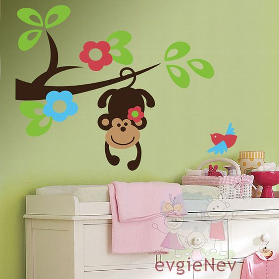 Hanging Monkey on the Tree Branch with FREE Bird  by evgieNev, $40.00