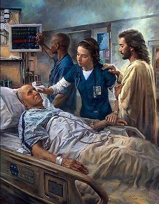 Christian artist Nathan Greene's gift for accurate detail rendered in luminous color shines in this powerful image entitled The Healer. Knowing that Christ is by the side of the one who cares for the sick and suffering brings comfort to all who enter.