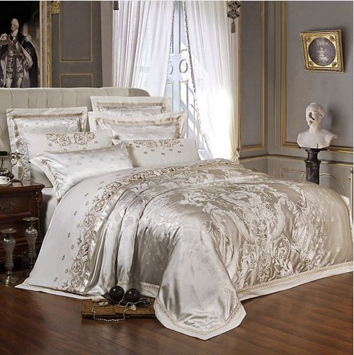 Silver 6pc Luxury Silk Embroidery Jacquard Queen King Duvet Cover Bedding Set Bed Linens Luxury Bedding Sets Luxury Bedding