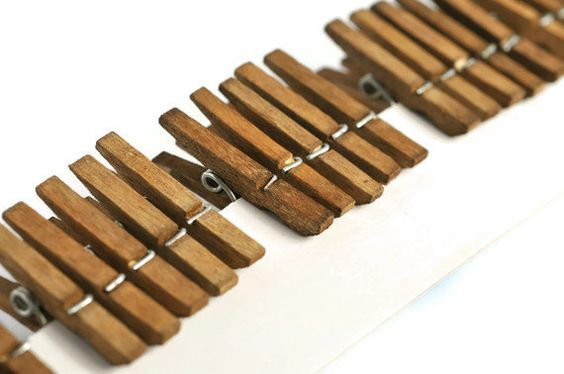 Mini clothespins  pegs  25  walnut dye  natural by TodoPapel, $6.75