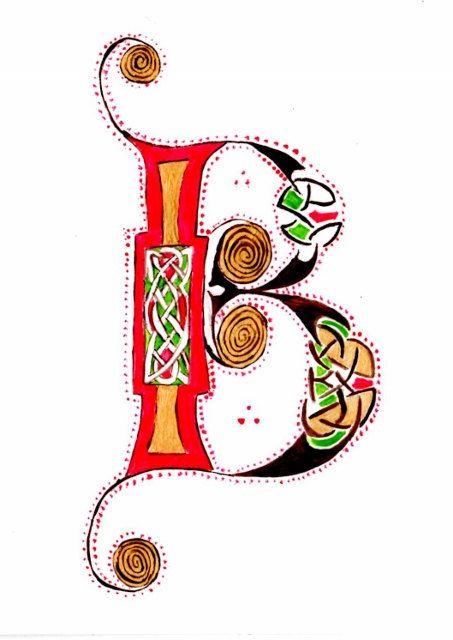Hand painted illuminated Letter B