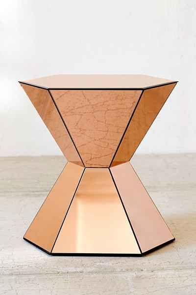 Copper faceted accent table