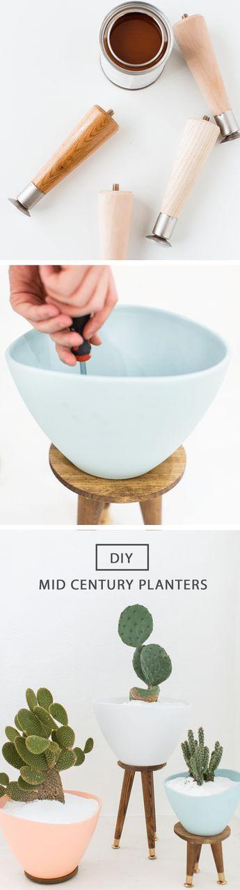 DIY mid century planters by Ashley Rose of Sugar & Cloth, an award winning DIY blog.: