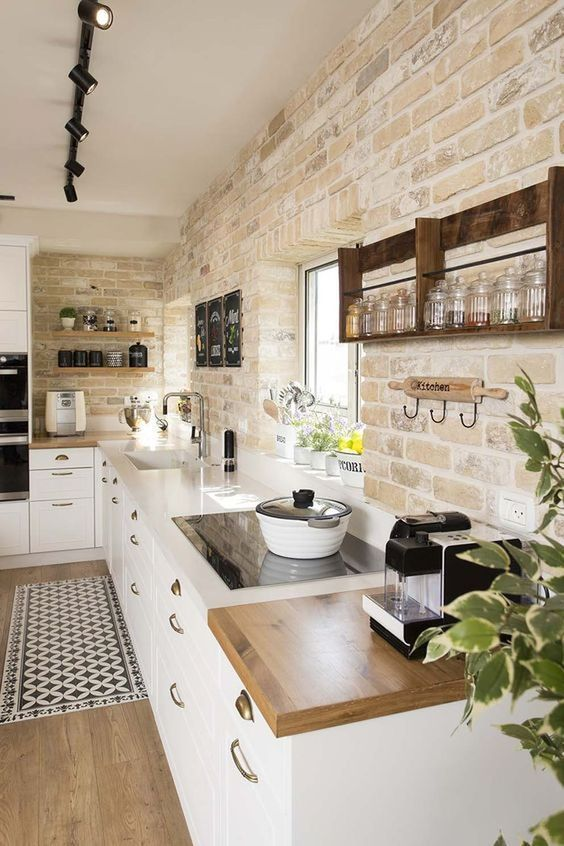 12 Simple Brick Kitchen Wall Tiles Inspiration For Some Cool Looks Decoratio Co Farmhouse Kitchen Colors Interior Design Kitchen Farmhouse Kitchen Design