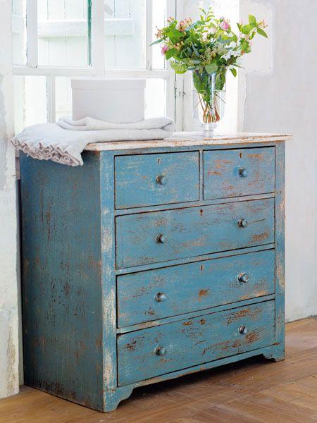 Shabby Chic Wohnen Pinterest Shabby, Blue chests and Interiors - shabby chic vorher nachher