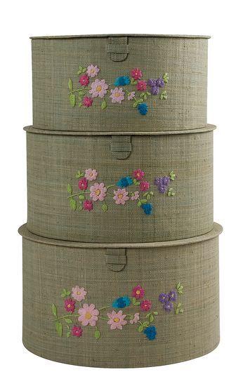 Rice Aufbewahrungsboxen Set mit Stickerei helltürkis