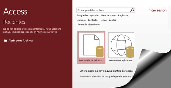 Tutorial de Access 2016: Abrir una base de datos nueva