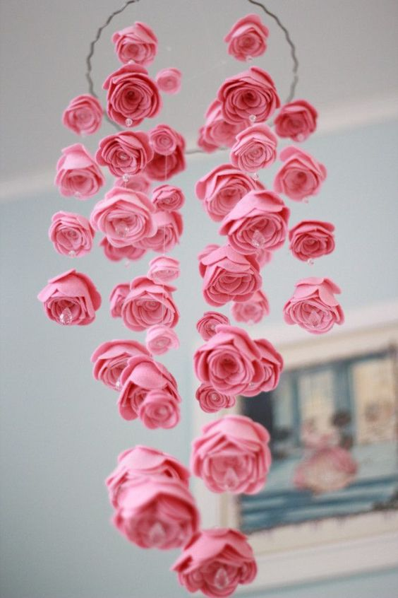 Pretty decor for a garden themed nursery from the Corner Stork Baby Gifts Blog  | Pink Flower Mobile | Project Nursery