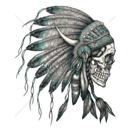 11x14 SKULL INDIAN HEADRESS Headress Indian Native
