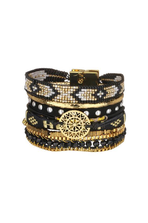 Manchette perles et métal Blackhappy Noir Hipanema sur MonShowroom.com