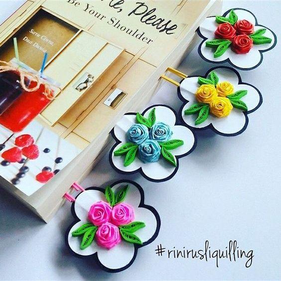 Bookmark / Paper Clip  #rinirusliquilling #bookmark #paperclip #souvenir #paperrose #handmade