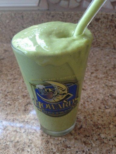 Classic Green Monster smoothie, featuring banana, spinach and almond butter. See the recipe from community blogger Lauren Podolsky