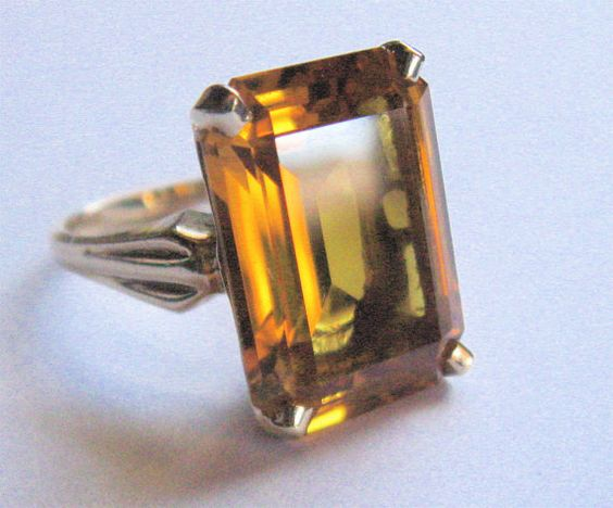 Vintage KIMBERLY of Albert Lorsch & Co NY Signed Emerald Cut Yellow Topaz 10K Gold Ring Estate