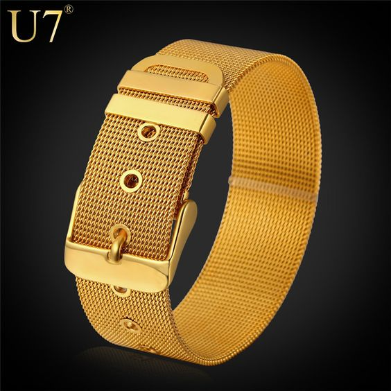 U7 Stainless Steel Bracelet Men Jewelry Wholesale Yellow Gold Plated Mens Bracelets Fashion Watch Band Bracelets Bangles H648