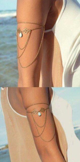 Upper Arm Bracelet Band Armlet by BohoGlow on Etsy