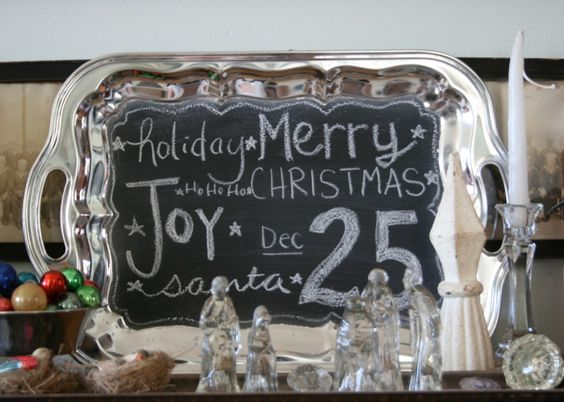 Silver tray chalkboard - MUST make one! :)