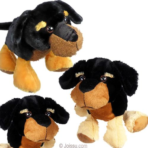 12 Plush Black And Tan Dogs With Big Button Eyes Fuzzy Noses