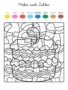 ausmalbild malen nach zahlen: torte zum 9. geburtstag ausmalen kostenlos ausdrucken | bojanke