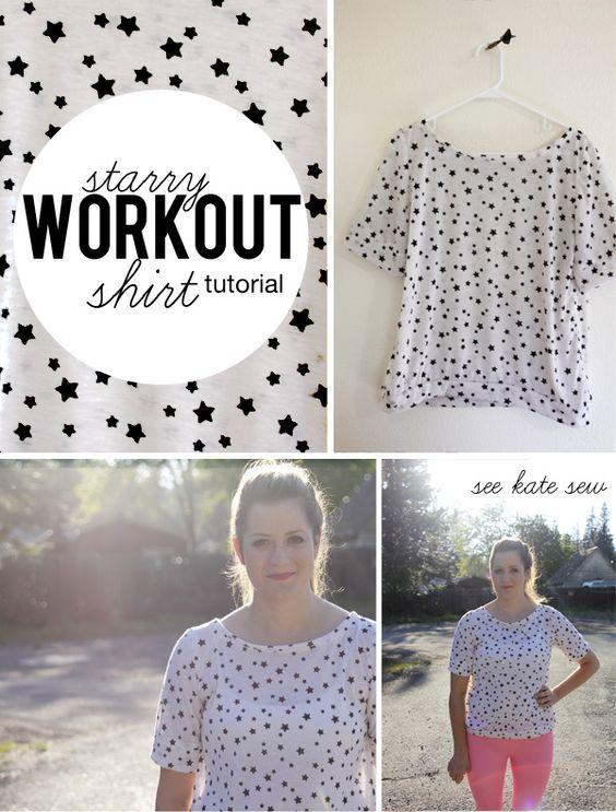 Starry Knit Workout Shirt Tutorial