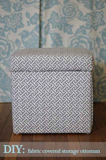 31 easy diy projects you won39t believe are no sew fabric for Storage ottoman fabric covered