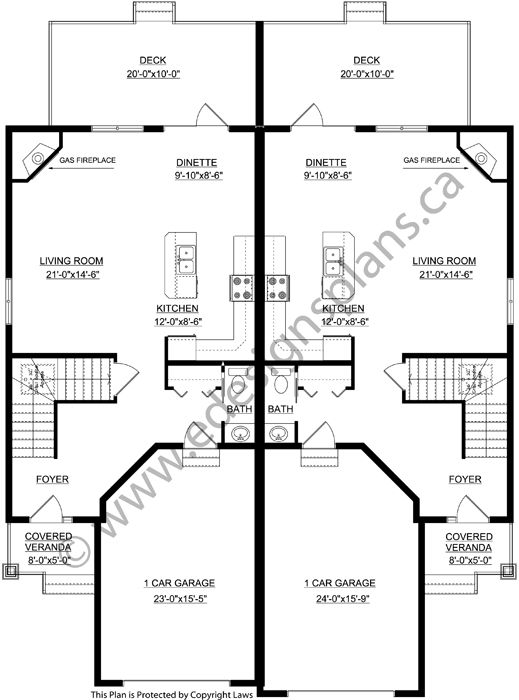 Duplex Plan 2015878 A Side By Side Ground Level Duplex Open Floor Plan 2 Bedrooms 2 Baths Laundry And M Duplex Plans Duplex Floor Plans Duplex House Plans