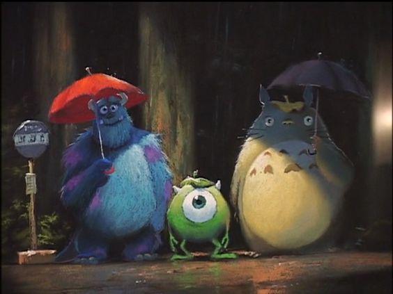 #monsters inc #pixar #my neighbour totoro #mike wasawski #james p sullivan #sulley