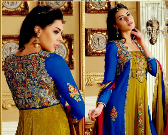 Adorable Full Sleeve Ceremonial Suit with Glowing Zari, Resham and Thread Embroidery