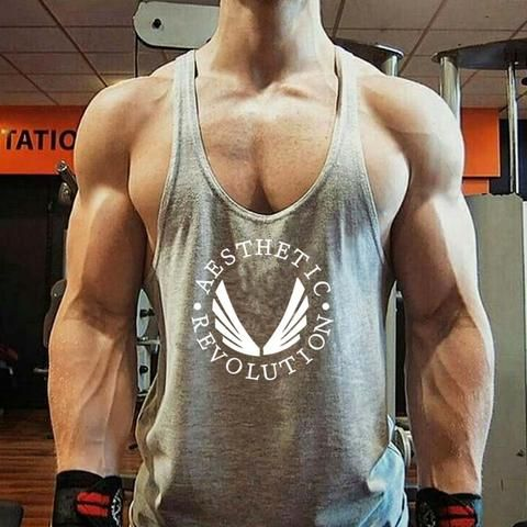 Mens cotton vest muscle style athletic running gym bodybuilding top all sizes