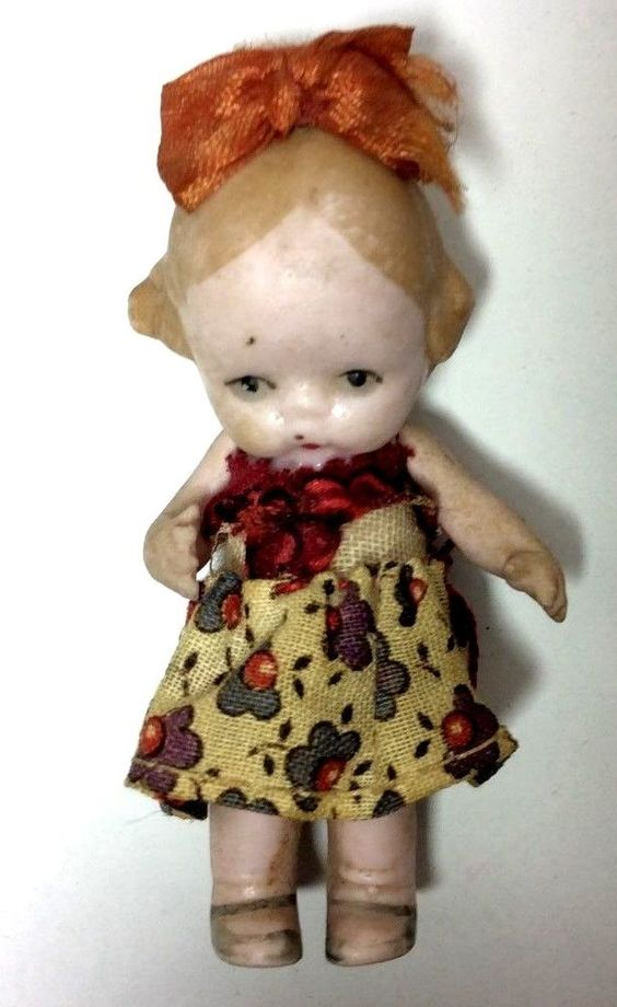 """Antique Miniature 3"""" German Bisque Doll Girl in Dress with Ribbon in Hair"""