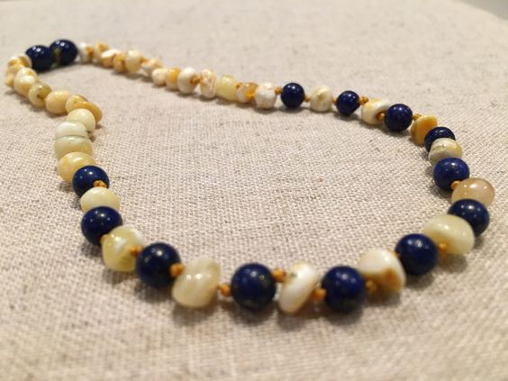 ADHD Anxiety Teething Polished Milk Lapis Lazuli Baltic Amber Necklace for Baby, Infant, Toddler, Big Kid.