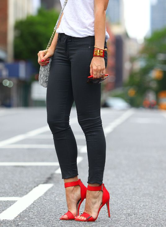 red shoes + red cuff = power combo
