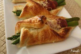 La Cocina de Franchi: Hojaldre de espárragos y jamón. Se pueden hacer sin pesto