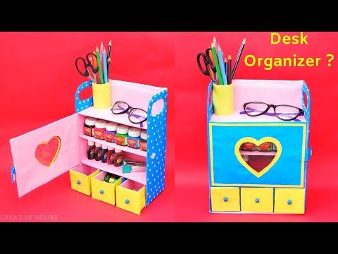 How To Make Desk Organizer From Waste Shoebox Best Out Of Waste Diy Room Organizer Youtube Manualidades Manualidades Palitos Organizadores