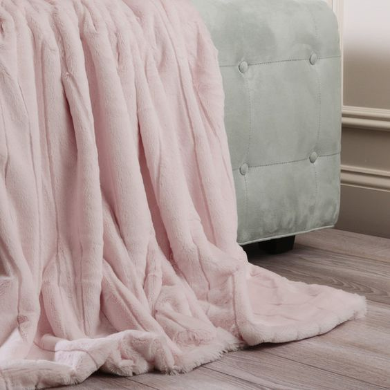 """Luxe Mink Faux Fur Throw Blanket Color: Light Pink, Size: 84"""" x 58"""" ($91) ❤ liked on Polyvore featuring home, bed & bath, bedding, blankets, plush blanket throw, soft pink blanket, fake fur blanket, mink throw blanket and mink throw"""
