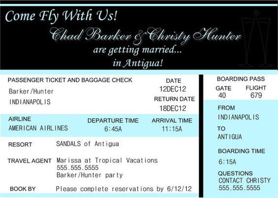Digital Personalized Destination Wedding Invitation Plane Ticket - plane ticket template
