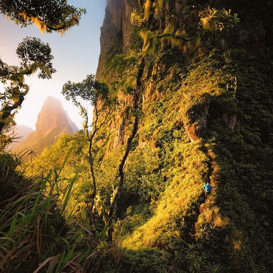 Ridge at the base of Poumaka Tower in the Marquesas Islands (an archipelago of about a dozen islands in French Polynesia).