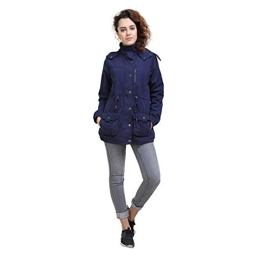 MansiCollections Dark Blue Parka Jacket for Women | Blue