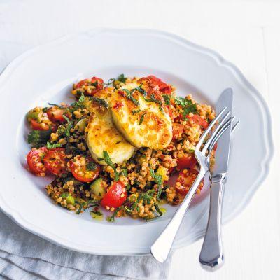 Halloumi with tomato and herb bulgar wheat salad